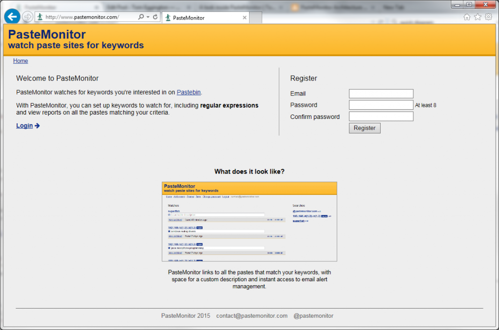The homepage offers a description and screenshot of the service. It also swaps out the login box for the register box if there's never been a login from the current browser.