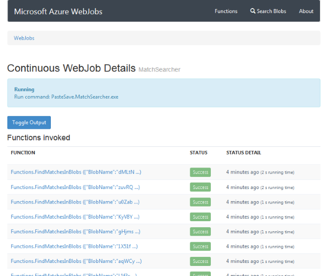 Azure provides reporting on the status of WebJobs